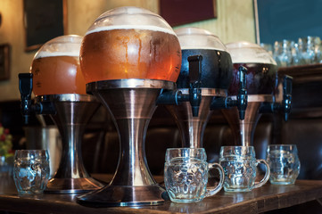 Beer taps in a bar