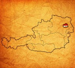 vienna on map of austria