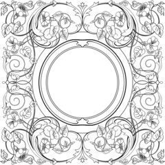 Square ornamental design made up of swirls, flowers, and leaves