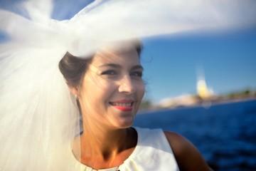 Portrait of a bride on quay Neva river, Saint-Petersburg