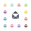 mail flat icons set.