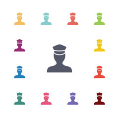 policeman flat icons set.