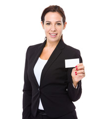 Businesswoman show white card