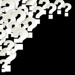 Fragezeichen Ecke oben links Hintergrund schwarz