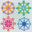 Ensemble d'Icones Roue de la Loi - Symbole Bouddhisme