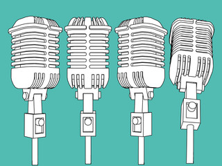 vector microphone set illustration
