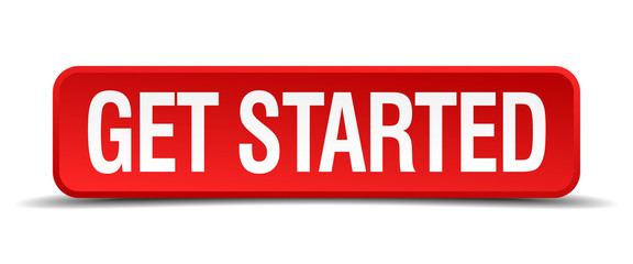 get started red 3d square button on white background