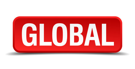 Global red 3d square button on white background