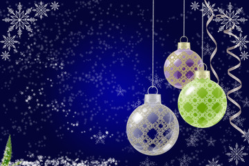 Blue Christmas background with Christmas balls