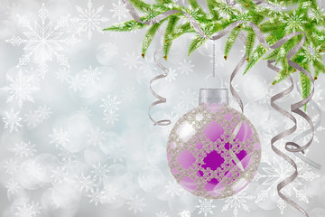 Christmas background withd bauble and fir