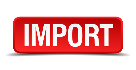 Import red 3d square button on white background