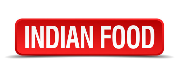 Indian food red 3d square button on white background