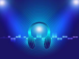 headphone techno background vector illustration
