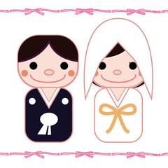 和装結婚式のイラスト リボン背景