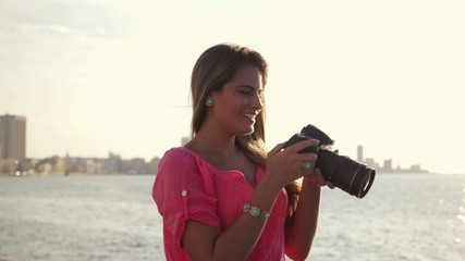 1of3 Woman, female photographer, happy tourist smiling, picture