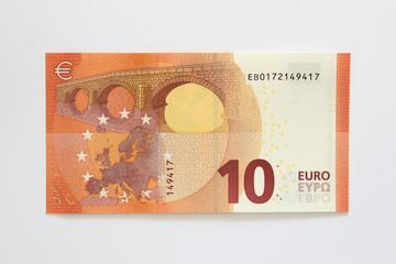 Rückseite neuer Zehn Euro Geldschein aus der Europa-Serie