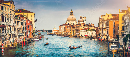 Aluminium Venetie Grand Canal and Santa Maria della Salute at sunset, Venice