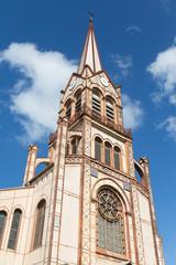 Beautiful Brown Church Steeple Rising Into Sky