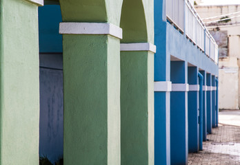Green Blue and White Columns Into Distance