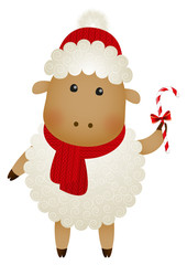Cute sheep with Christmas candy