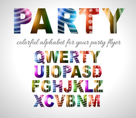 Funny Colorful Alphabet for party flyers or invitation cards