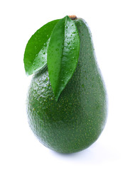 Ripe avocado with leaf on white.