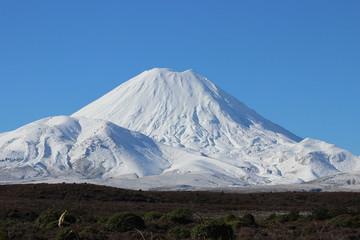 Stunning cone of Ruapehu volcano in winter