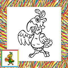 Funny cartoon parrot coloring book