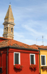 bell tower of BURANO near Venice in Italy