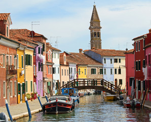 bell tower of BURANO in Venice and a bridge