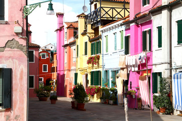 beautiful colorful houses on the island of BURANO near Venice