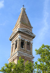 church tower of BURANO near Venice and blue sky