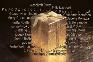 Geschenk Box zu Weihnachten Multi Sprachen