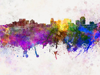 Salt Lake City skyline in watercolor background