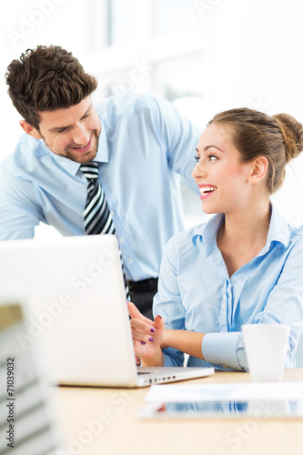 canvas print picture Business people working in office