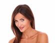 Latin woman for beauty headshot looking at camera