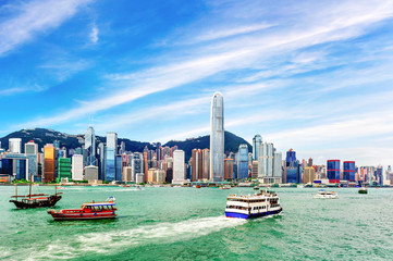 Hong Kong view of Victoria Harbor