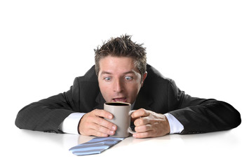 addict businessman holding coffee hectic caffeine addiction
