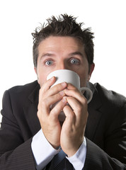 addict maniac businessman drinking coffee in caffeine addiction