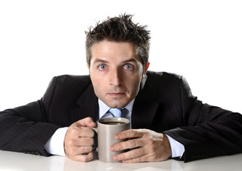 addict holding cup of coffee anxious in caffeine addiction