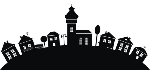 village, black silhouette