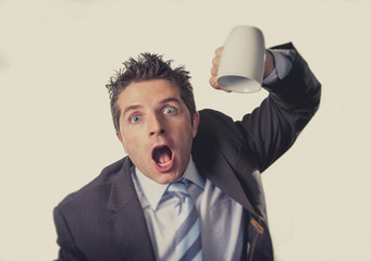 addict businessman and cup of coffee in caffeine addiction
