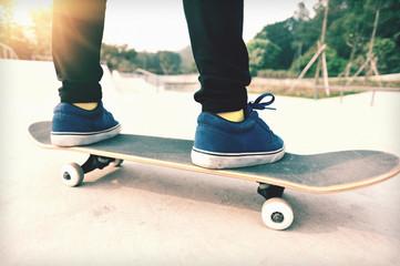 skateboarding legs  on skatepark