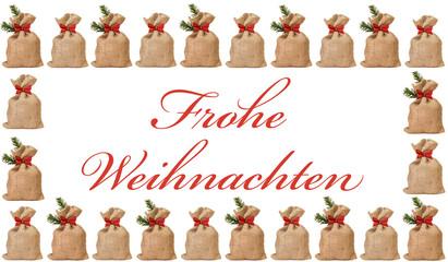 Rahmen aus Nikolaussäckchen - Frohe Weihnachten
