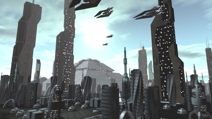 Futuristic city with spaceships passing by