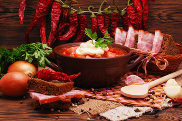 The traditional Ukrainian beet soup borscht