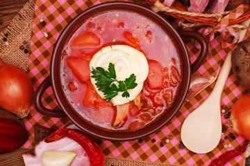 The traditional Ukrainian beet soup borscht