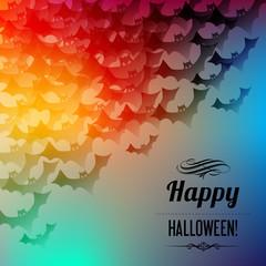 Halloween Schatten Fledermäuse Postkarte Regenbogen