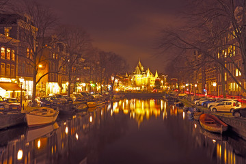 City scenic from Amsterdam with the Waag building in the Netherl