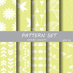 soft green nature pattern set